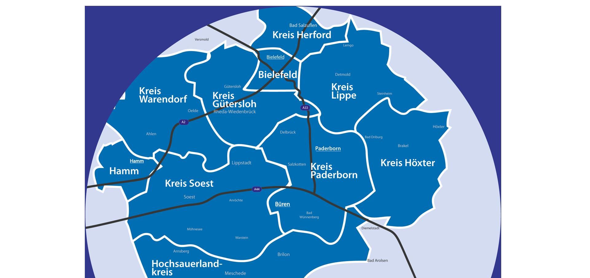 Ihre Bürener Dienstleistungs & Sicherheitsdienste GmbH ist in der Region Paderborn, Bielefeld, Hamm und Büren stark für Sie.